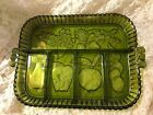 Beautiful Vintage Green Indiana Glass Serving Divided Tray Plate Fruit Handles