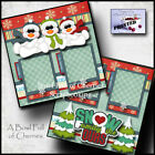 SNOW FAMILY LIKE OURS winter 2 premade scrapbook pages paper printed CHERRY 0112