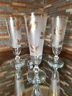Libbey Beer Mimosa Stein Glasses 10 Ounce Frosted Stemware 24k Gold Trim Set 3