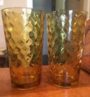 SET OF 2 VINTAGE 1960's ANCHOR HOCKING AMBER HONEYCOMB ICE TEA TUMBLERS NICE!
