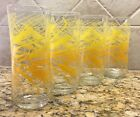 VTG Set of 4 Libbey Golden Wheat Tall Drinking Glasses Concave Ice Tea Tumblers
