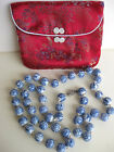 Estate Shou Porcelain Hand-Knotted Bead Necklace Silver Clasp Chinese Characters
