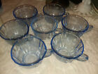 Indiana Depression Glass Federal Blue Madrid Set of 7 Punch/Coffee Cups lot