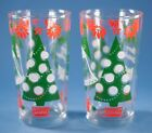 Continental Can Merry Christmas Happy New Year 2 Glasses Tumblers Hazel Atlas