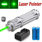 1 Watt 532nm Green Laser Pointer Lazer Pen Zoomable Visible Light +18650+Charger