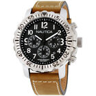 Nautica NMS 01 Black Dial Leather Strap Men's Watch NAD18506G