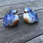 Vintage Antique Bluebird Salt and Pepper Shakers SMALL CHIP FACTORY FLAWS