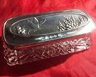 Antique English Solid Sterling Silver Cut Glass Butterfly Trinket Vanity Box