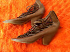 BROWN LACE-UP BOOTIES OPEN TOE - CROWS BINTAGE? - SIZE 7.5