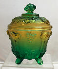 GRAPE AND VINE Covered Candy Jar Green to Yellow Jeannette Pressed Glass