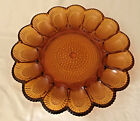 Indiana Glass Egg Plate Tray - Hobnail Amber Glass - 11