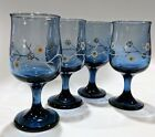 Libbey Tulip Dusky Blue Wine Glasses White Flowers Branches Dogwood Vintage (4)