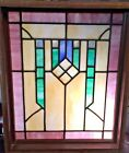 Vintage Stained Glass Leaded Glass Transom Window Frame in Ready