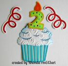 BIRTHDAY CUPCAKE boy2 title paper piecing Premade Scrapbook Pages by Rhonda