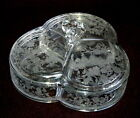 Vintage ETCHED Glass - 3-Section CANDY DISH - Flower Basket - Floral Excellent
