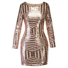 Women Bodycon Backless Glittering Sequin Evening Party Cocktail Short Mini Dress