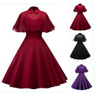 Vintage 50s 60s Retro Women Rockabilly Pinup Housewife Party Swing Dress + Cloak