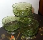 4 Anchor Hocking Lido Milano Avocado Green Tall Champagne Sherbet Glasses Dishes