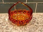 Vintage Amberina 2 Tone Moon Stars Candy Dish with Handle Flat Bottom