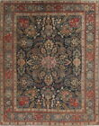 Pre1900 Collectable Antique Floral Blue 9x12 Wool Khoy Persian Oriental Area Rug