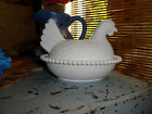 INDIANA GLASS HEN ON NEST MILK GLASS SLOTTED BEADS CANDY DISH VINTAGE RARE MINT!