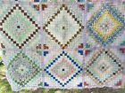 Antique hand sewn piece worked full quilt top only