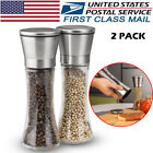 Set of 2 Salt Pepper Grinder Glass Stainless Steel Pepper Mill and Salt Mill