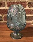 Fenton Blue Carvinal Glass Lily Of The Valley Fairy Lamp