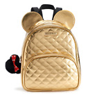 NIP Disney Minnie Mouse 3 D Quilted Gold Mini Backpack  Bag Charm SEALED