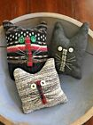 Primitive   Old Home Cats Bowl Fillers Set of 3  Christmas