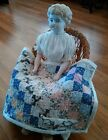 Sweet Antique Post Stamp Hand Stitched Doll Quilt With Playful Kittens