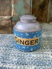 Small 1890s Pantry Tin Cupboard Blue Paint Calico Sleeve Ginger