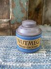 Small 1890s Pantry Tin Cupboard Blue Paint Calico Sleeve Nutmeg