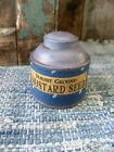Small 1890s Pantry Tin Cupboard Blue Paint Calico Sleeve Mustard Seed