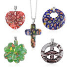 NIB Set of 5 Murano Millefiori Glass Pendants With a 20 Chain U 35 Necklace