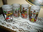 FRANCE,ITALY,ENGLAND U.S FESTIVAL BEVERAGE GLASSES SET 4 FROSTED