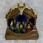 Antique Italian Christmas Nativity Manger Set Rare Rotating Figures