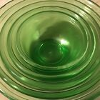 5 Green Depression Glass Hazel Atlas Nesting Mixing Bowls 5-9