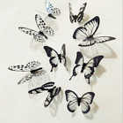 18pcs 3D Butterfly Sticker Wall Decal Home Decoration Room Decor Set White Black