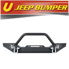 Fits 1987 2006 Jeep Wrangler TJ YJ Black Front Winch Bumper With 2 Led Lights