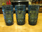 Vintage Indiana Glass Kings Crown Thumbprint Teal Blue Tumblers Set of 3 12oz.