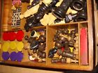old antique gaming box , chess, dominos, poker, checkers, so many,wood, dice