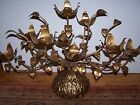 Large Metal Table Top Gold Gilded Paint 9 Arm Candelabra Leaves