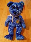 Ty Beanie Baby Decade royal blue with 10 year Anniversary 2003 Bear