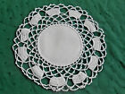 BEAUTIFUL SNOW WHITE LINEN DOILY WITH WHITE HAND CROCHET LACE TRIM, CIRCA 1930