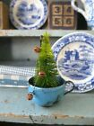 Early Antique Blue Enamelware Toy Cup w Bottle Brush Tree
