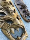 Vintage Set of Wooden Tiki Masks Made in Philippines, Exotic Island Wall Decor
