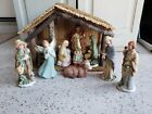 9 Piece Hand Painted Porcelain Collectibles Large Nativity Set Gold Trim MANGER