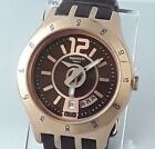Swatch Irony YTG400 Men's Quartz Watch - Stainless Steel and Brown Leather Strap