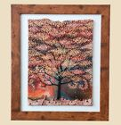 Handmade original Fused Glass Painting AUTUMN TREE